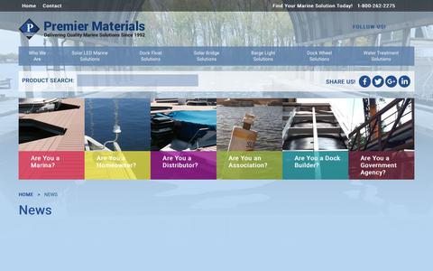 Screenshot of Press Page premiermaterials.com - News - Premier Materials - captured Sept. 29, 2018