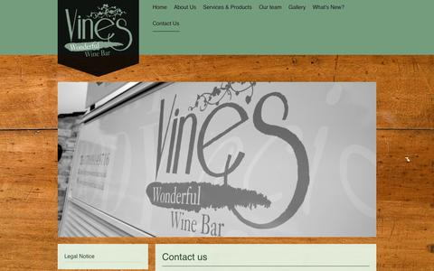 Screenshot of Contact Page vines-winebar.co.uk - Vines Wine Bar - Contact Us - captured Nov. 5, 2014