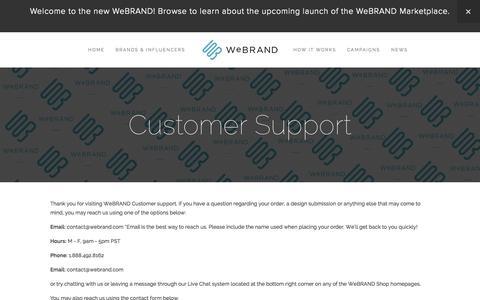 Screenshot of Support Page webrand.com - Customer Support — WeBRAND | INFLUENCER MARKETING, BRANDING, LICENSING, CROWDFUNDING - captured Sept. 17, 2014