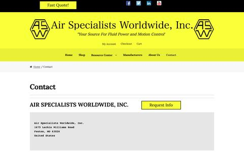Screenshot of Contact Page airspec.com - Contact – Air Specialists Worldwide, Inc. - captured Sept. 24, 2016