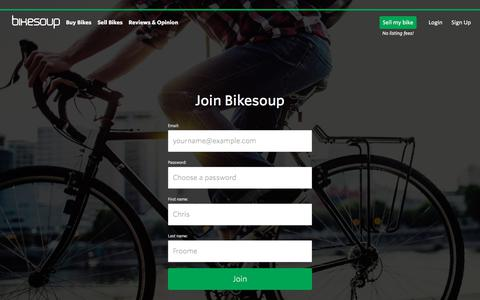 Screenshot of Signup Page bikesoup.com - Bikesoup - The Cycle Marketplace - captured Aug. 2, 2018