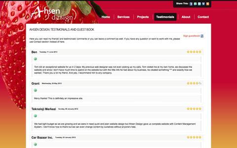 Screenshot of Testimonials Page ahsendesign.com - Ahsen Design: Testimonials and Guest Book - captured Oct. 4, 2014
