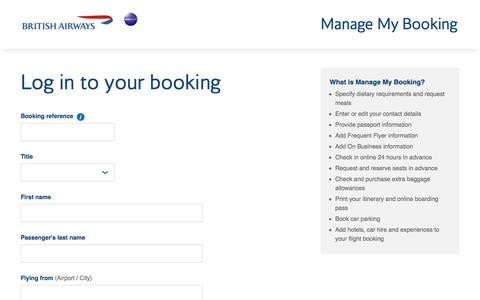 British Airways - Manage My Booking