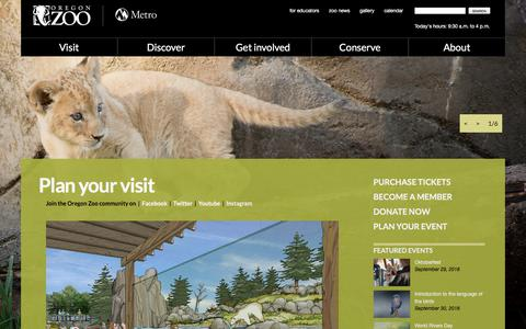 Screenshot of Home Page oregonzoo.org - Welcome to the Oregon Zoo - captured Sept. 23, 2018