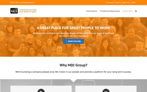 Screenshot of Signup Page mdigroup.com - MDI Group -   Join Our Team - captured Dec. 20, 2015