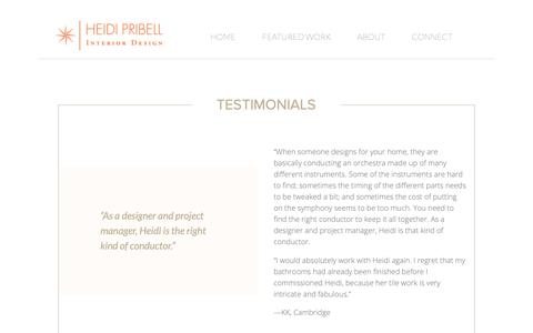 Screenshot of Testimonials Page heidipribell.com - Heidi Pribell • Interior Designer Boston, MA • Testimonials - captured Sept. 30, 2018