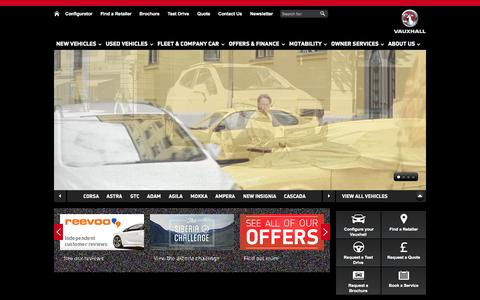 Screenshot of Home Page vauxhall.co.uk - Vauxhall Official Site™ | New Cars | Used Cars | Vans - captured Sept. 22, 2014