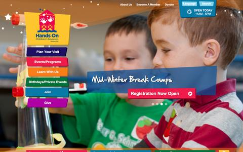 Screenshot of Home Page hocm.org - Home > Hands On Children's Museum of Olympia - captured Jan. 26, 2016