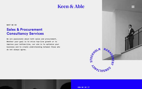 Screenshot of Home Page keenandable.com - Keen & Able — Sales & Procurement Consultancy Services - captured Oct. 14, 2018