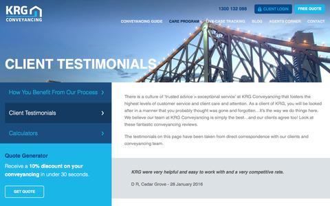 Screenshot of Testimonials Page krg.com.au - KRG Conveyancing Review | Client Testimonials - captured Feb. 12, 2016