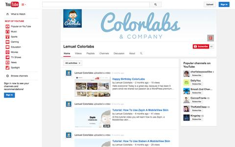 Screenshot of YouTube Page youtube.com - Lemuel Colorlabs  - YouTube - captured Oct. 23, 2014