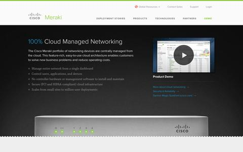 Screenshot of Products Page cisco.com - Cisco Meraki Cloud Managed Products - captured Sept. 10, 2014