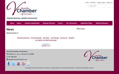 Screenshot of Press Page vacavillechamber.com - News - Vacaville Chamber of Commerce, CA - captured Feb. 13, 2016