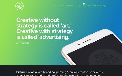 Screenshot of Home Page pictura.com.au - Branding and Identity Design - Graphic Design - Logo Design - Brochure Design - Sydney - Pictura Creative - captured July 21, 2015