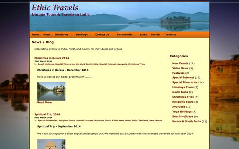 Screenshot of Press Page ethictravels.com - News & Blog - captured Oct. 4, 2014