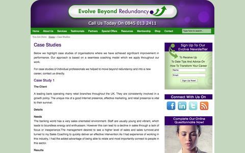 Screenshot of Case Studies Page evolvebeyondredundancy.com - Case Studies | Evolve Beyond Redundancy - captured Sept. 30, 2014