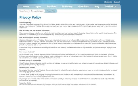 Screenshot of Privacy Page thelogocompany.net - Privacy Policy - The Logo Company - captured Sept. 17, 2014