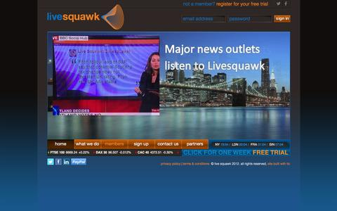 Screenshot of Home Page Privacy Page Terms Page livesquawk.com - Livesquawk - captured July 15, 2016
