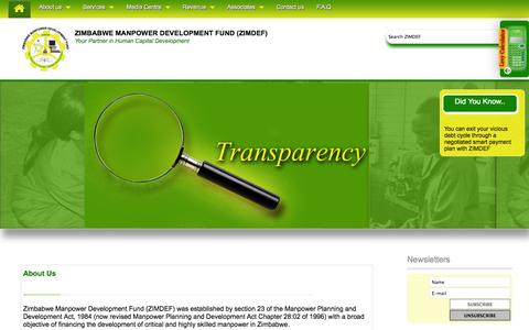 Screenshot of Home Page About Page Services Page zimdef.org.zw - Zimbabwe Manpower Development Fund - captured Oct. 6, 2014