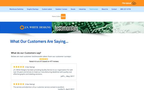 Screenshot of Testimonials Page jnwhitedesigns.com - Testimonials|Industrial Label Printer - captured May 25, 2017