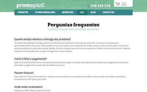 Screenshot of FAQ Page promoprint.pt - Perguntas frequentes | PromoPrint - captured Sept. 30, 2018