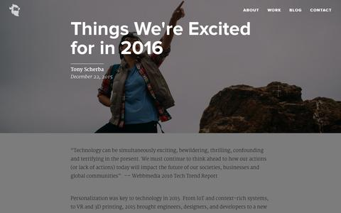 Screenshot of Blog yeti.co - Things We're Excited for in 2016 - Yeti - captured Dec. 22, 2015