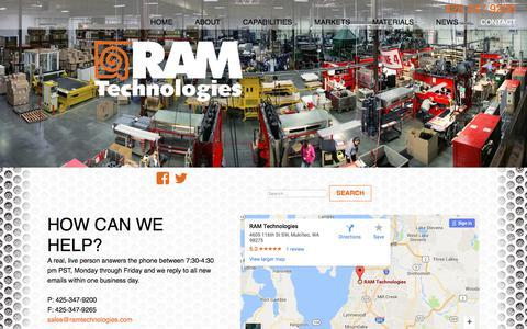 Screenshot of Contact Page ramtechnologies.com - Contact - RAM Technologies - captured Oct. 27, 2017