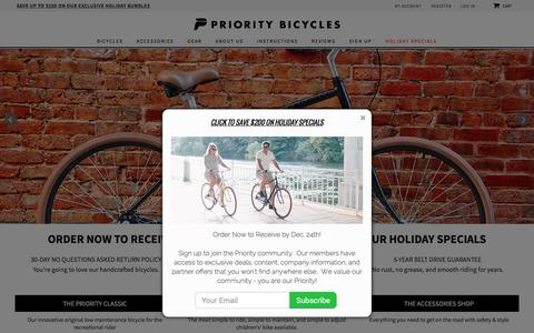 Screenshot of Home Page prioritybicycles.com - Home page - captured Dec. 5, 2015