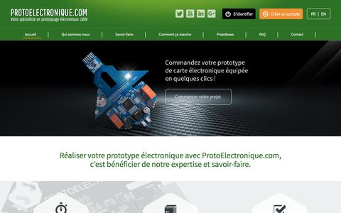 Screenshot of Home Page protoelectronique.com - ProtoElectronique - Prototypage de Cartes Électroniques Câblées en ligne - captured July 10, 2017