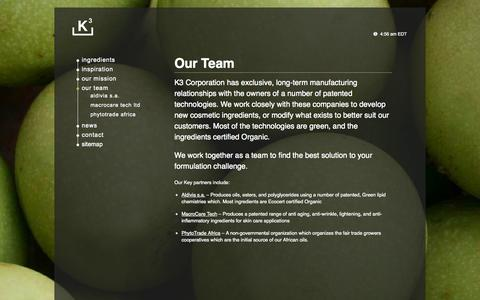 Screenshot of Team Page k3corp.com - Our Team - K3Corp - captured Oct. 27, 2014