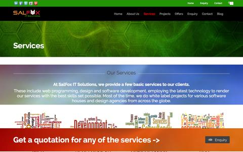 Screenshot of Services Page salfox.com - Services - SalFox IT Solutions - captured Nov. 2, 2014