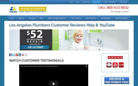 Screenshot of Testimonials Page thetwinplumbers.com - Los Angeles Plumbers Services | Yelp-YouTube Reviews - captured Feb. 28, 2016