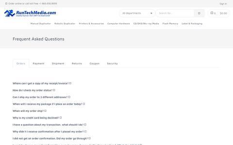 Screenshot of FAQ Page runtechmedia.com captured Nov. 2, 2018