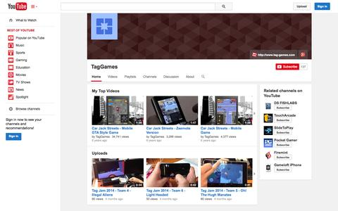 Screenshot of YouTube Page youtube.com - TagGames  - YouTube - captured Oct. 26, 2014