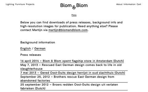Screenshot of Press Page blomandblom.com - Press   Blom & Blom - captured Nov. 22, 2016