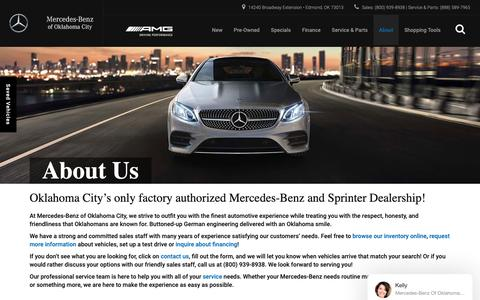 Screenshot of About Page mercedesbenzofokc.com - Mercedes-Benz and Used Car Dealer in Edmond | Mercedes-Benz of Oklahoma City - captured Nov. 15, 2018