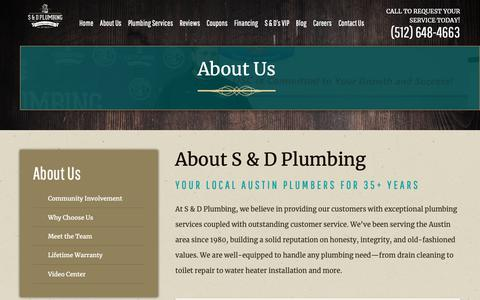 Screenshot of About Page sanddplumbing.com - About S & D Plumbing | Austin Plumbing Company - captured Oct. 1, 2018