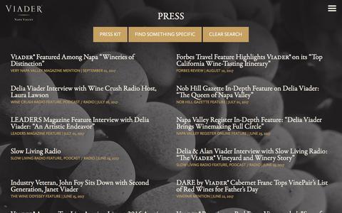 Screenshot of Press Page viader.com - Press - - VIADER Vineyards & Winery, Napa Valley - captured Sept. 26, 2017