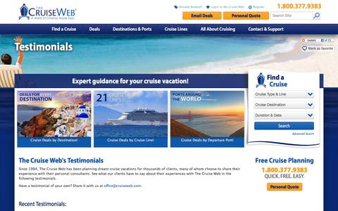 Screenshot of Testimonials Page cruiseweb.com - Testimonials About The Cruise Web: Customer Reviews and Feedback | The Cruise Web - captured Feb. 10, 2016