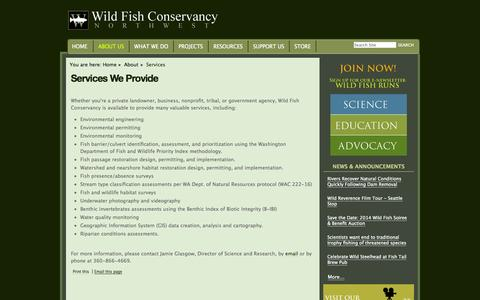 Screenshot of Services Page wildfishconservancy.org - Services We Provide — Wild Fish Conservancy - captured Oct. 26, 2014