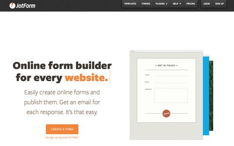 Screenshot of Home Page jotform.com - Online Form Builder · JotForm - captured May 8, 2016