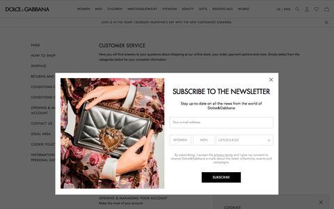Screenshot of Support Page dolcegabbana.com - Customer Service | Dolce&Gabbana - captured Feb. 14, 2020