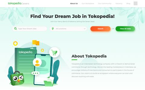 Screenshot of Jobs Page tokopedia.com - Mulai Berkarir di Tokopedia, Temukan Tujuanmu - Jobs at Tokopedia - captured Oct. 5, 2018