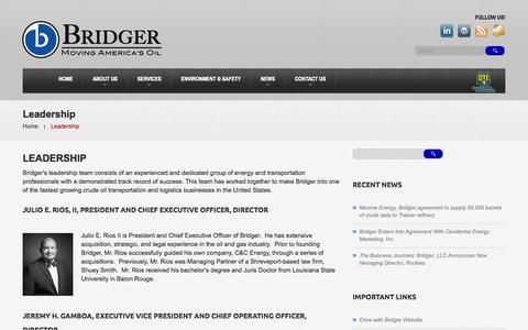 Screenshot of Team Page bridgergroup.com - Leadership | Bridger, LLC | Moving America's OilBridger, LLC | Moving America's Oil - captured Oct. 5, 2014