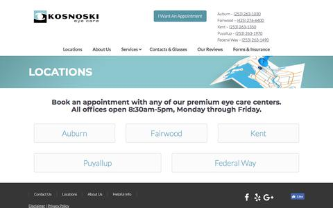 Screenshot of Contact Page Locations Page kosnoskieye.com - Our Optometry Practices | Kosnoski Eye Care - captured Dec. 24, 2017