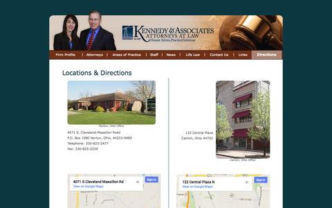 Screenshot of Maps & Directions Page lawyerska.com - Kennedy & Associates - Locations & Directions: Canton, OH and Norton, OH - captured Oct. 6, 2014