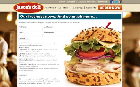 Screenshot of Signup Page jasonsdeli.com - Our freshest news. And so much more... - captured Sept. 19, 2014