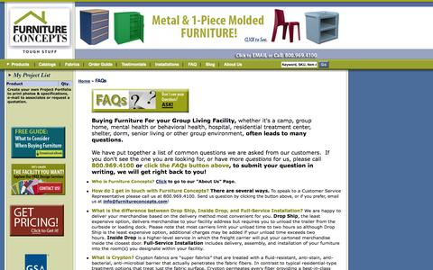 Screenshot of FAQ Page furnitureconcepts.com - Furniture Concepts |           Frequently Asked Questions when buying contract furniture - captured Sept. 30, 2014