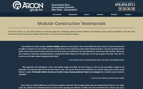 Screenshot of Testimonials Page arcongroupinc.com - Arcon Group, Inc. Specializes in Modular Construction - captured Oct. 29, 2014