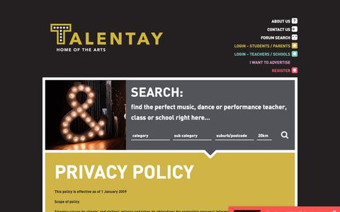 Screenshot of Privacy Page talentay.com.au - Privacy Policy - Talentay - captured Oct. 21, 2018